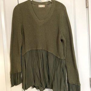 Army Green Peplum Sweater Altard State